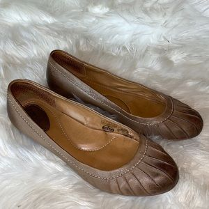 Fossil Tabitha Brown Leather Pleated Flats 9